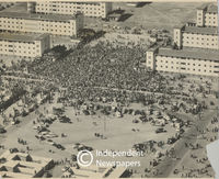 Aerial view of people gathering for a funeral, Cape Town
