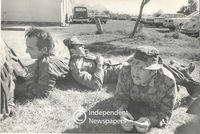 Soldiers take a break from their duties, Cape Town