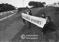 "Student protest:  ""Free all political prisoners"" banner, Cape Town"
