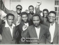 Men who were freed from prison giving PAC salute, Cape Town