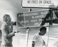 Apartheid signage at the beach,Cape Town