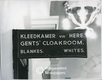 Cloakroom in City Hall reserved for whites only, Cape Town