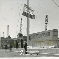 Flag raising at the naming of Duncan Dock, Table Bay Harbour, Cape Town