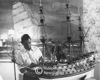 Scale model of the Royal Sovereign sailing ship, Cape Town Festival, 1975