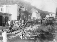 Laying rails for electric trams, Cape Town, 1896