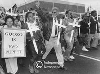 """Gqozo is FW's puppet"" placard, Cape Town"