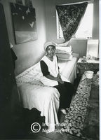Ms Elizabeth Saal in her sister's room, Sea Point, Cape Town
