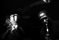 Saxophonists, Dudu Pukwana and Kippie Moeketsi, playing a duet, Johannesburg, South Africa