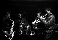 Dudu Pukwana, Kippie Moeketsi, Nick Moyake, Dennis Mphale playing a jazz composition, Johannesburg, South Africa