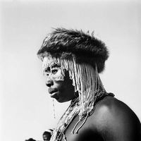 Xhosa man wearing traditional headdress, Transkei, South Africa
