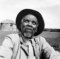 Xhosa elder posing for a portrait, Transkei, South Africa