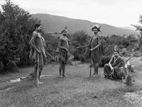 Xhosa men dressed in traditional clothing, Transkei, South Africa
