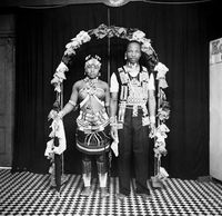 Studio portrait of Zulu couple