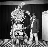 Zulu chief shaking man's hand