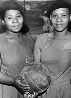 Two women playing for Deep Freezing netball team, Eastern Cape, South Africa