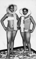Two girls posing in bathing costumes, Eastern Cape, South Africa
