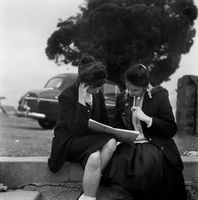 School girls studying, District Six, Cape Town, South Africa