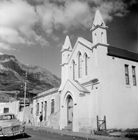 A church stands tall on a street in District Six, Cape Town, South Africa
