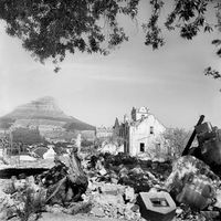 The remains of demolished buildings, District Six, Cape Town, South Africa