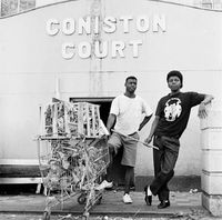 Men with a trolley, Coniston Court, Hillbrow, Johannesburg