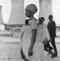 Woman with baby on her back, Johannesburg, South Africa