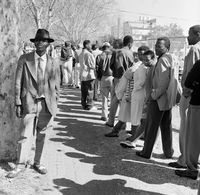 People queueing in a park, Johannesburg, South Africa