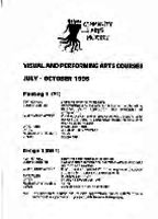 Visual and performing arts courses, July - October 1995 : Community Arts Project.