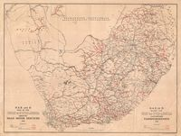 S.A.R. and H. map of the Union of South Africa shewing road motor services, 1938 = S.A.S. en H. kaart van Unie van Suid-Afrika aantonende padmotordienste, 1938