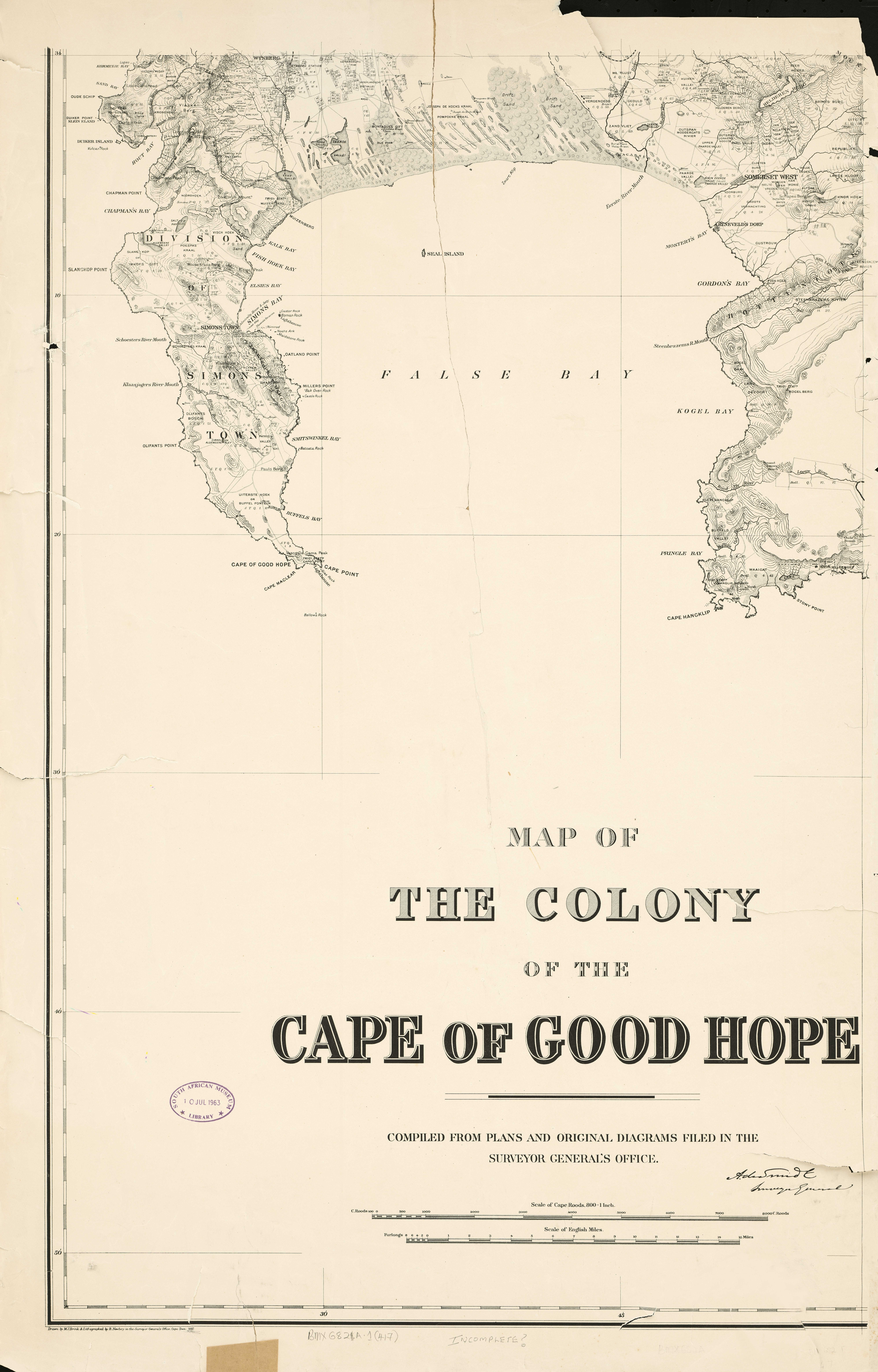 Map of the Colony of the Cape of Good Hope | UCT Libraries ...