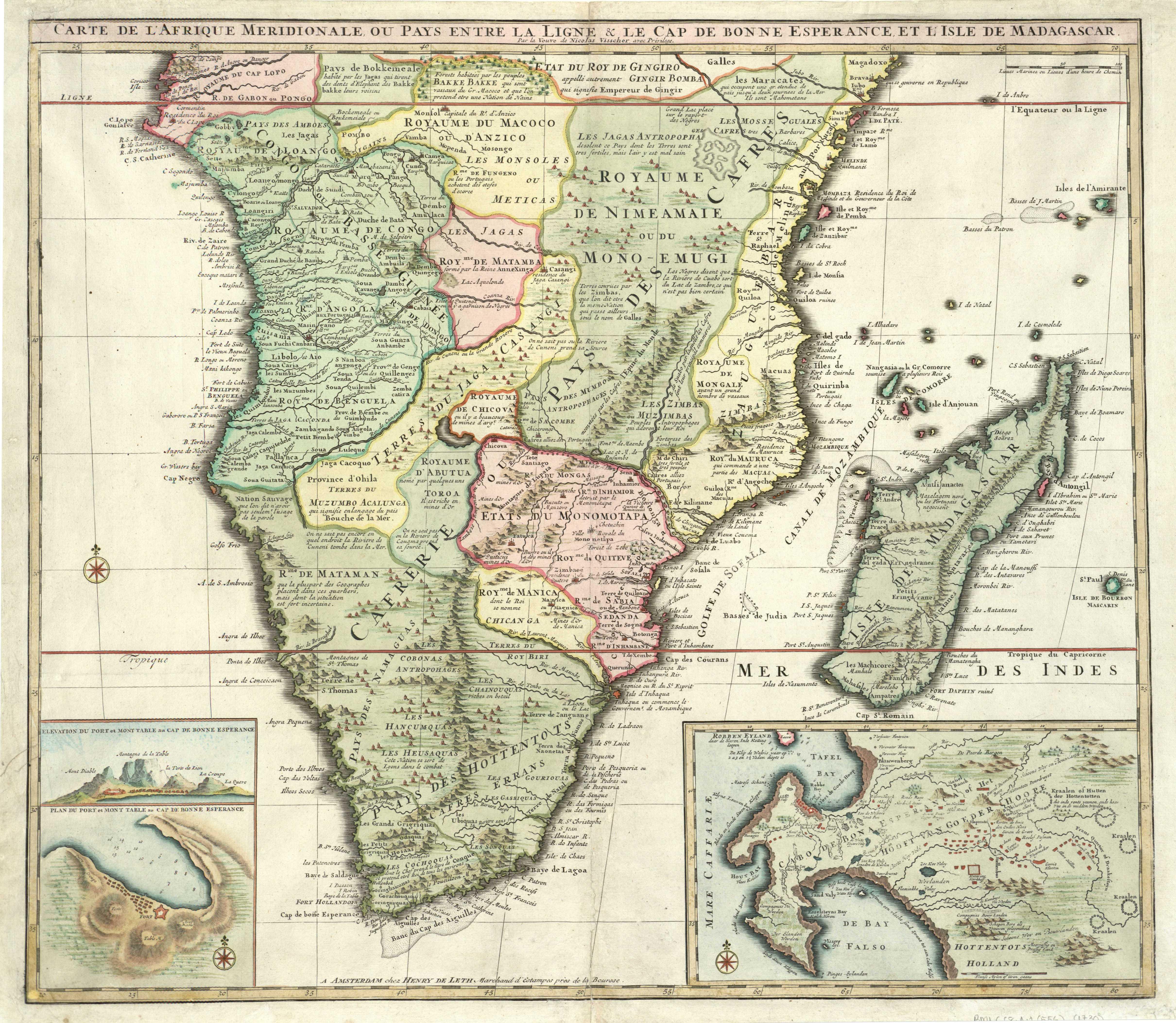 Carte De Lafrique Map.Carte De L Afrique Meridionale Au Pays Entre La Ligne Cap De