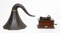 Phonograph, horn and case