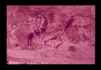 Image from rock painting site. Site of Loopenderivier 53, Uniondale, Western Cape, South Africa.