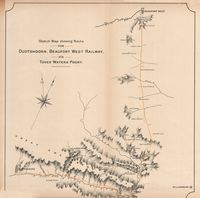 Sketch map showing route for Oudtshoorn, Beaufort West Railway vîa Tover Waters Poort