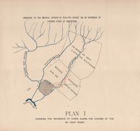 Plan I shewing the incidence of cases along the course of the De Hoop River : annexure of the Medical Officer of Health's report on an outbreak of typhoid fever at Robertson