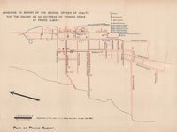 Plan of Prince Albert : annexure to report of the Medical Officer of Health for the Colony on an outbreak of typhoid fever at Prince Albert