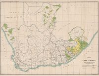 Map of Cape Colony shewing land reserved for natives