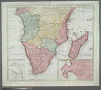 Carte de L'Afrique Meridionale ou Pays Entre la ligne &  le cap de Bonne Esperance et L'Isle de Madagascar