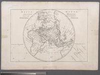 Mappe Monde, Sur Un Plan Horisontal. Situe a 45d de latitude Nord. Hemiphere Oriental