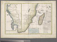 Carte du Canal de Mosambique, contenant L'Isle de Madagascar les Cotes d'Afrique, depuis le Cap de Bonne Esperance jusqu'a Melinde