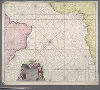 Wassende-Grade-Kaart van de Aetiopische Ocean beslooten met de kusten van Guinea, Angola, de Caffers en Brasilia