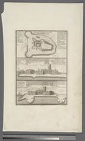 1. Plan of James Island in the Gambia, 1732 -- 2. N E Prospect of James Fort -- 3. N N W Prospect of James Fort