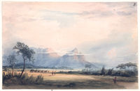 Table Mountain and Devils Hill, from the Camp ground, or edge of the Cape flats