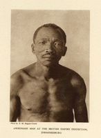 ‡Khomani man at the British Empire Exhibition, Johannesburg