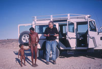 Bill Kemp preparing for an oral history interview with Jakob Malgas and his son, Kgalagadi Transfrontier Park.