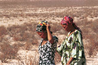 Oulet Kruiper and unidentified member of the San community on a data collection trip into the Kgalagadi Transfrontier Park