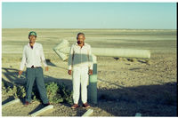 Willem Vaalbooi and Willem Swarts at Norokei Pan outside of Upington, South Africa.