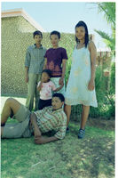 Anna Seekoei and other San community members outside |Una Rooi's home in Andriesvale, Northern Cape, South Africa