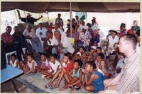 Members of the San community meet to discuss the land claim