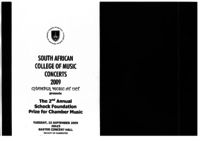 The 2nd Annual Schock Foundation Prize for Chamber Music, Baxter Concert Hall, Cape Town, South Africa