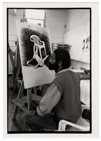 Martin Stevens drawing at his easel